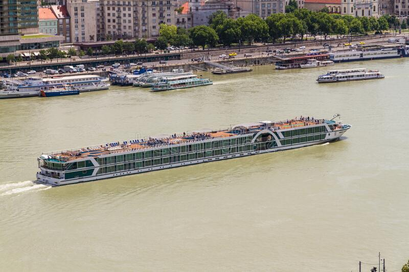 Editorial, Huge large big Ferry on the River Danube in Budapest royalty free stock photo