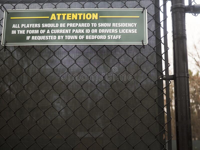 Editorial i.d. sign town tennis court Bedford, New York stock photos