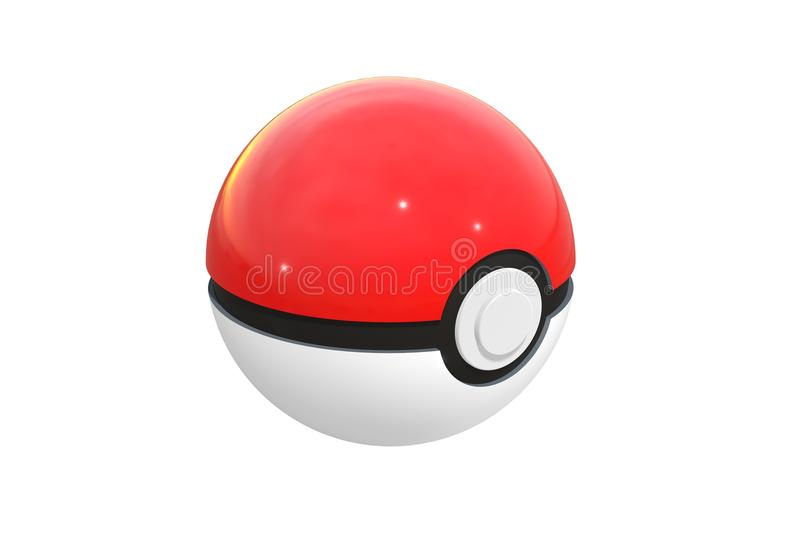 Editorial illustration: 3d render of pokeball isolated on a white background. Pokeball is an equipment to catch in Pokemon Go stock illustration