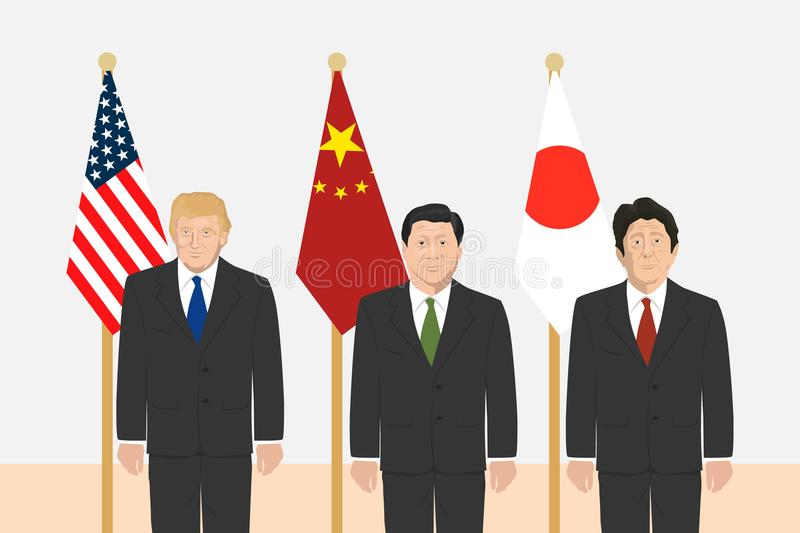 Political leaders theme. 03.12.2017 Editorial illustration of the Prime Minister of Japan Shinzo Abe, the President of People s Republic of China Xi Jinping and