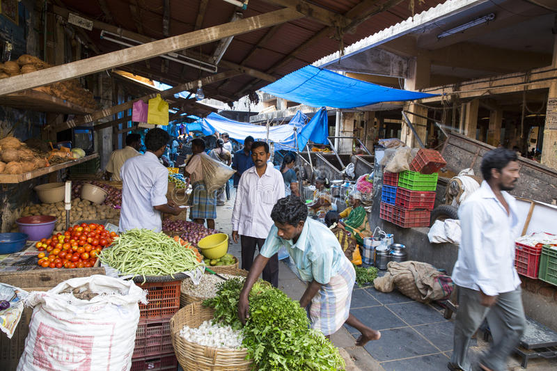 Editorial illustrative image. Food market in India. Illustrative image. Pondichery, Tamil Nadu, India - May 14, 2014. Vegetables and fruits market place, colored royalty free stock photos