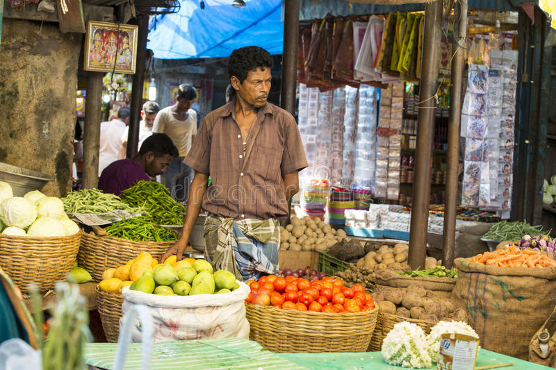 Editorial illustrative image. Food market in India. Illustrative image. Pondichery, Tamil Nadu, India - May 14, 2014. Vegetables and fruits market place, colored royalty free stock photography