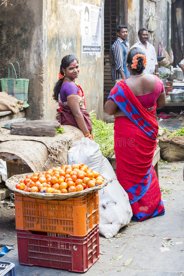 Editorial illustrative image. Food market in India. Illustrative image. Pondichery, Tamil Nadu, India - May 14, 2014. Vegetables and fruits market place, colored stock image