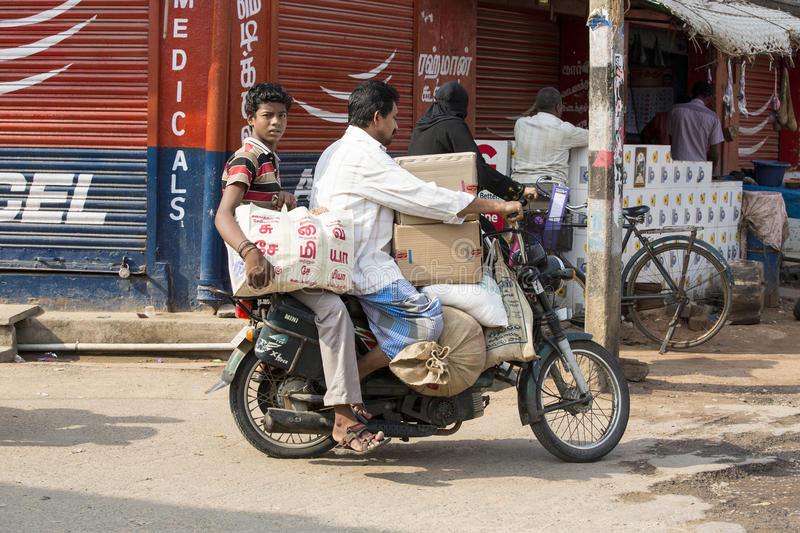 Editorial illustrative image. Motorbike to move in India royalty free stock photo