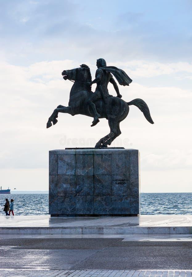editorial Kwiecie? 2019 greece Thessaloniki Zabytek Aleksander Wielki w Saloniki, Grecja fotografia royalty free