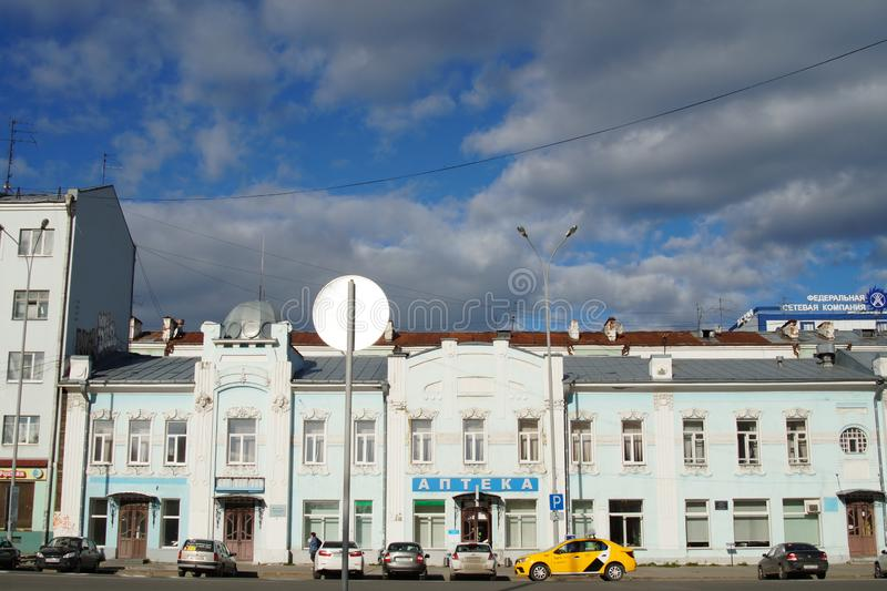 Cityscape: fragment of the house 16 Pushkin street. royalty free stock photo