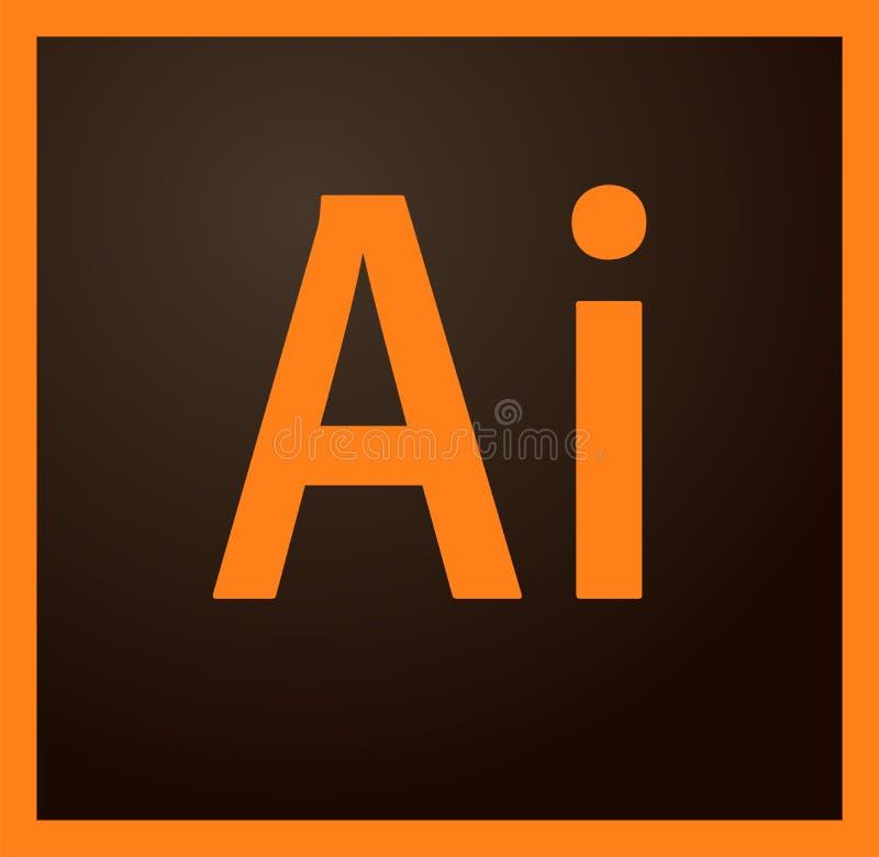 Editorial - logotipo do ilustrador de Adobe ilustração stock