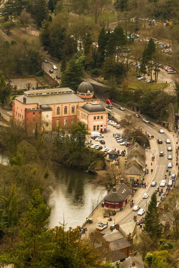 Editorial, Matlock Bath from above. stock photos