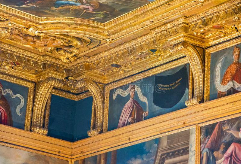 Editorial. May, 2019. Venice, Italy. Portraits of Doge under the ceiling in the Great Council Hall of the Doge`s Palace Palazzo. Editorial. May, 2019. Venice royalty free stock photo