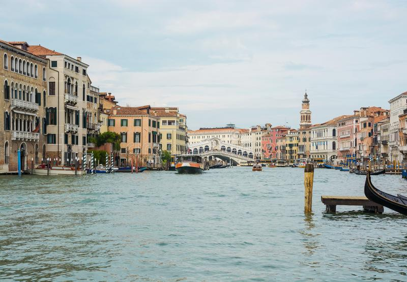 Editorial. May 2019. Venice, Italy. View of the Grand Canal and Rialto Bridge in Venice royalty free stock photography