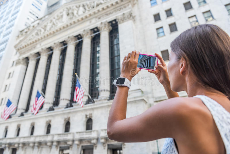 EDITORIAL New York Stock Exchange tourist taking picture royalty free stock photos