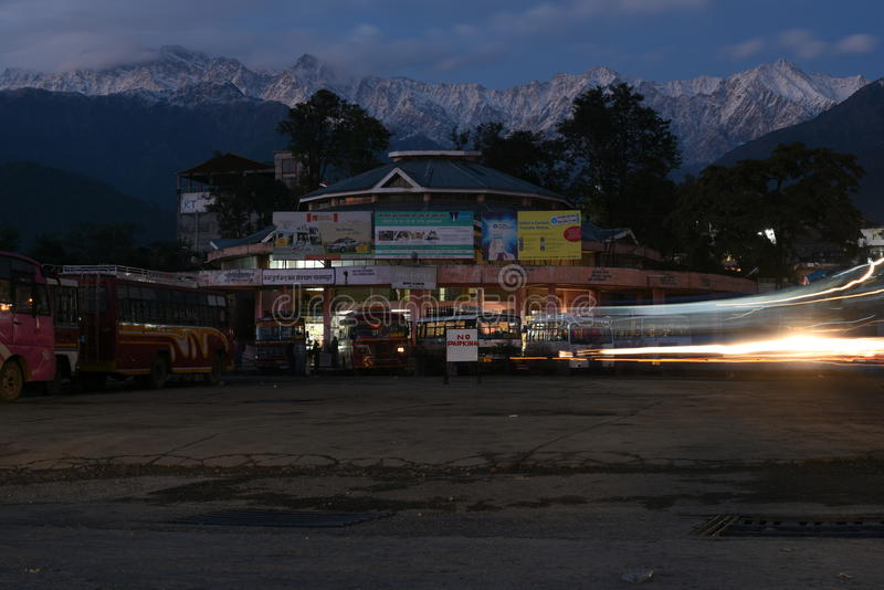 Editorial: Palampur, Himachal Pradesh, India: Nov 10th, 2015: Local Bus Stop at pretty Hill Station in Himachal, palampur. Is well connected to other royalty free stock images