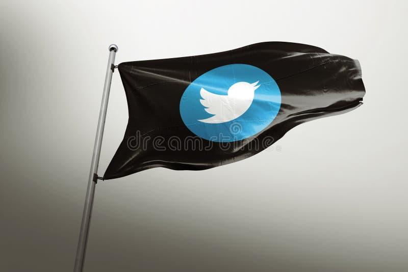 Editorial photorealistic da bandeira de Twitter ilustração royalty free
