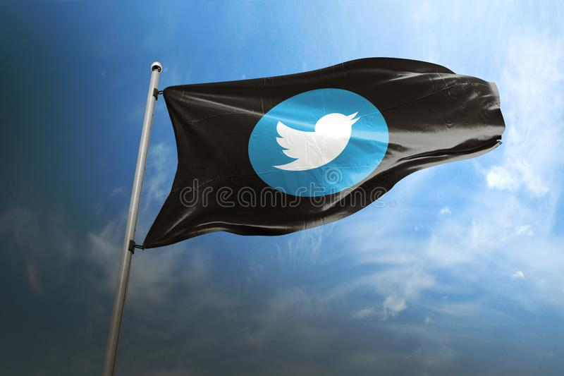 Editorial photorealistic da bandeira de Twitter fotos de stock