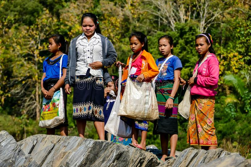 Editorial picture of thai lao people children near Mekong river, taken january 2018. In laos royalty free stock images