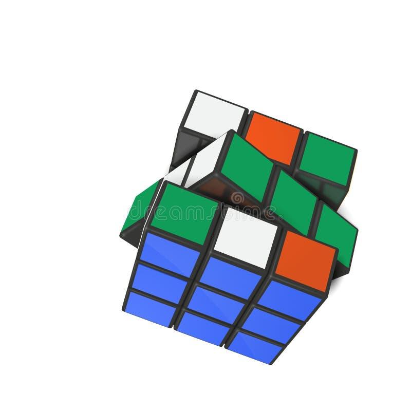 Editorial realistic vector illustration of Rubik s cube. Minsk, Belarus, 4 February 2018 . Editorial vector illustration. Rubik s Cube is a 3D combination vector illustration