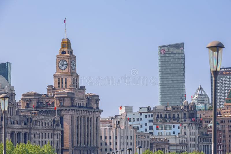 View of the Customs House on the Bund stock photos
