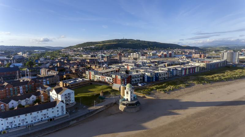 Swansea City former observatory. Editorial SWANSEA, UK - JUNE 20, 2018: Former Swansea observatory now being developed as a cafe restaurant royalty free stock images
