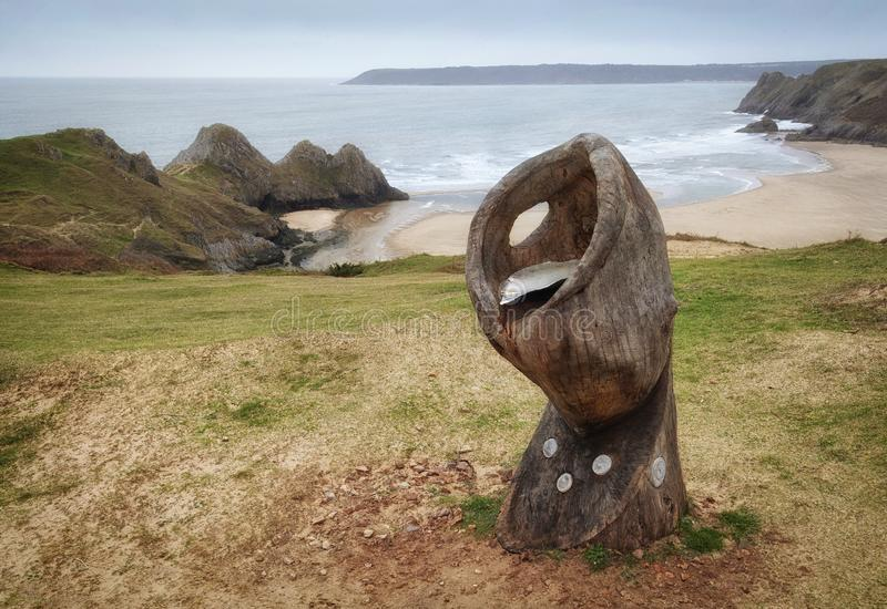 Shell Sculpture at Three Cliffs Bay. Editorial SWANSEA, UK - March 09, 2019: Shell Sculpture at Three Cliffs Bay on the Gower peninsula, South Wales, UK, by Tina stock images