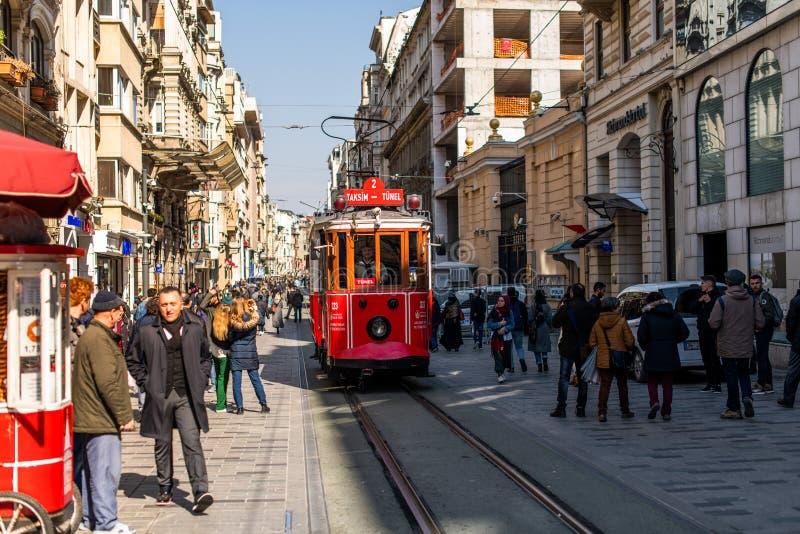 Editorial - Taksim Square - Tunel Tram, Trademark of Beyoglu, Istiklal Street. Istanbul. Turkey. Editorial - Taksim Square - Tunel Tram, Trademark of Beyoglu royalty free stock photography