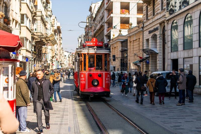 Editorial - Taksim Square - Tunel Tram, Trademark of Beyoglu, Istiklal Street. Istanbul. Turkey. Editorial - Taksim Square - Tunel Tram, Trademark of Beyoglu stock image