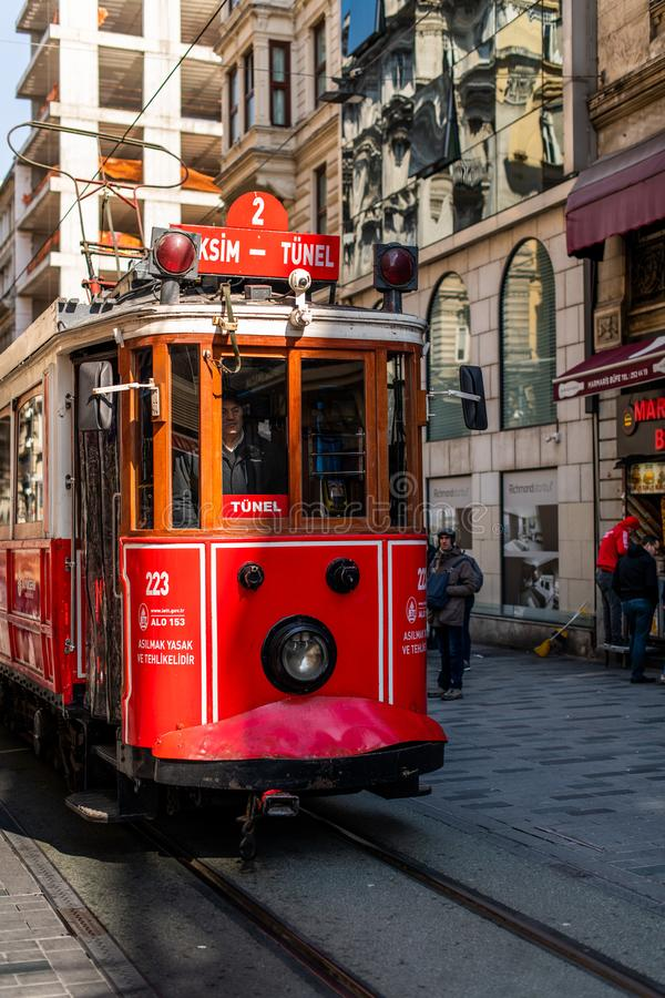 Editorial - Taksim Square - Tunel Tram, Trademark of Beyoglu, Istiklal Street. Istanbul. Turkey. Editorial - Taksim Square - Tunel Tram, Trademark of Beyoglu royalty free stock image