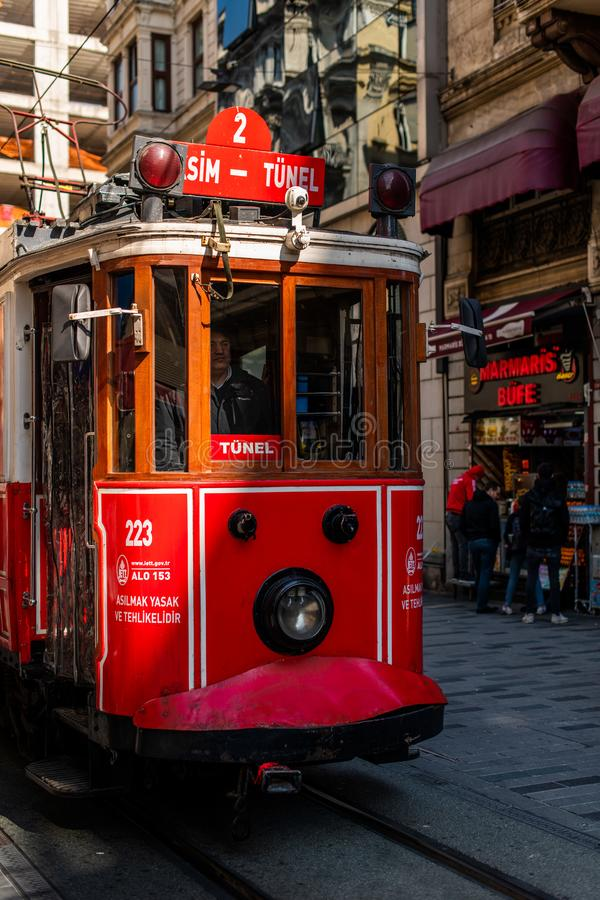 Editorial - Taksim Square - Tunel Tram, Trademark of Beyoglu, Istiklal Street. Istanbul. Turkey. Editorial - Taksim Square - Tunel Tram, Trademark of Beyoglu stock photography