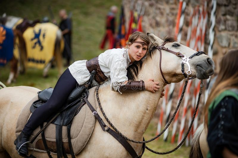 Editorial: 9th June 2019: Chatenois, France. Fancy-dress medieval carnival under fortress walls. In Alsace stock photography