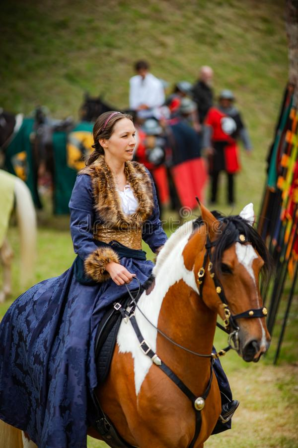 Editorial: 9th June 2019: Chatenois, France. Fancy-dress medieval carnival under fortress walls. In Alsace royalty free stock image