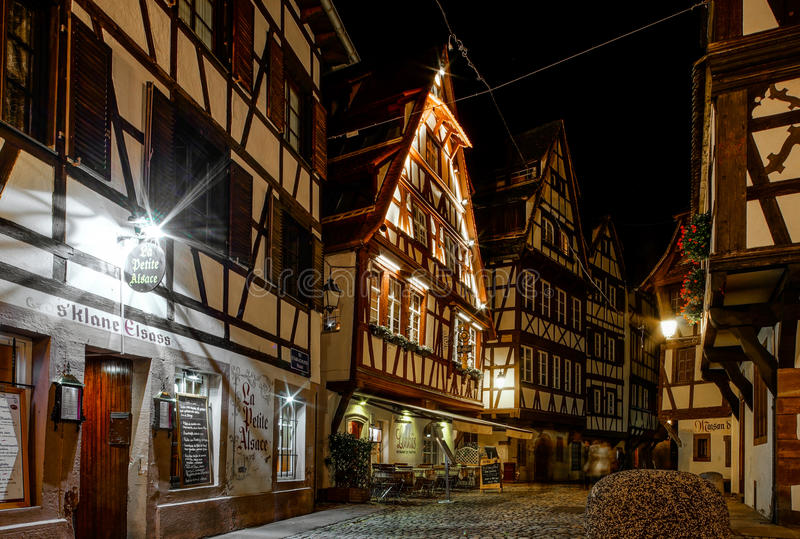 Editorial: 19th November 2016: Strasbourg, France. Night street. View royalty free stock photography