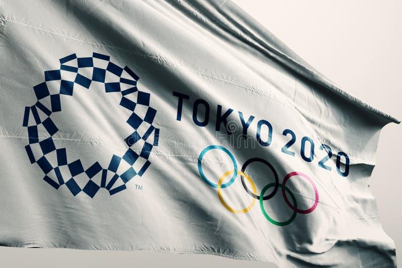 Editorial - Tokio 2020 ejemplo de la bandera 3d de los juegos del verano imagen de archivo
