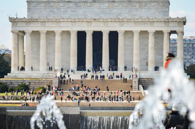 Editorial: Washington DC, USA - 10th November 2017. Abraham Lincoln Memorial in the morning with blue sky and clouds stock photography
