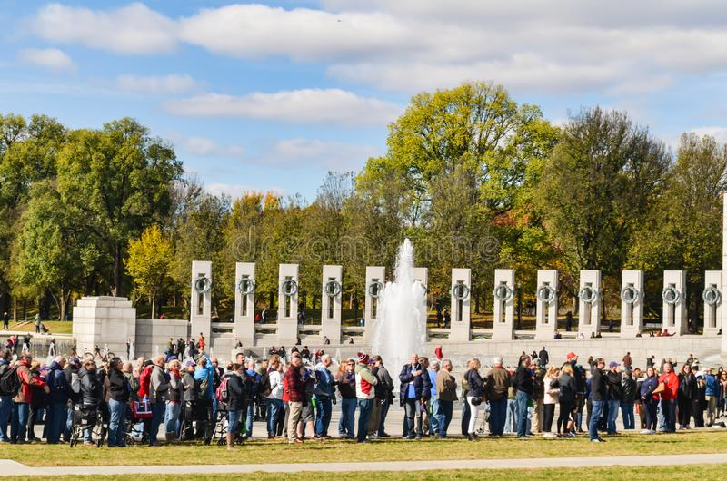 Editorial: Washington DC, USA - 10th November 2017. People in World War II Memorial at Washington DC stock photos