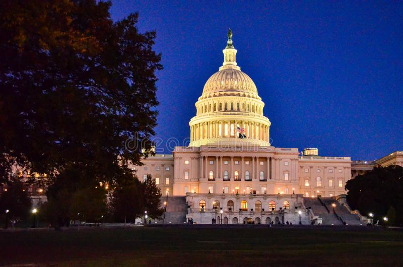 Editorial: Washington DC, USA - 10th November 2017. The United States Capitol building in Washington DC at night royalty free stock photo