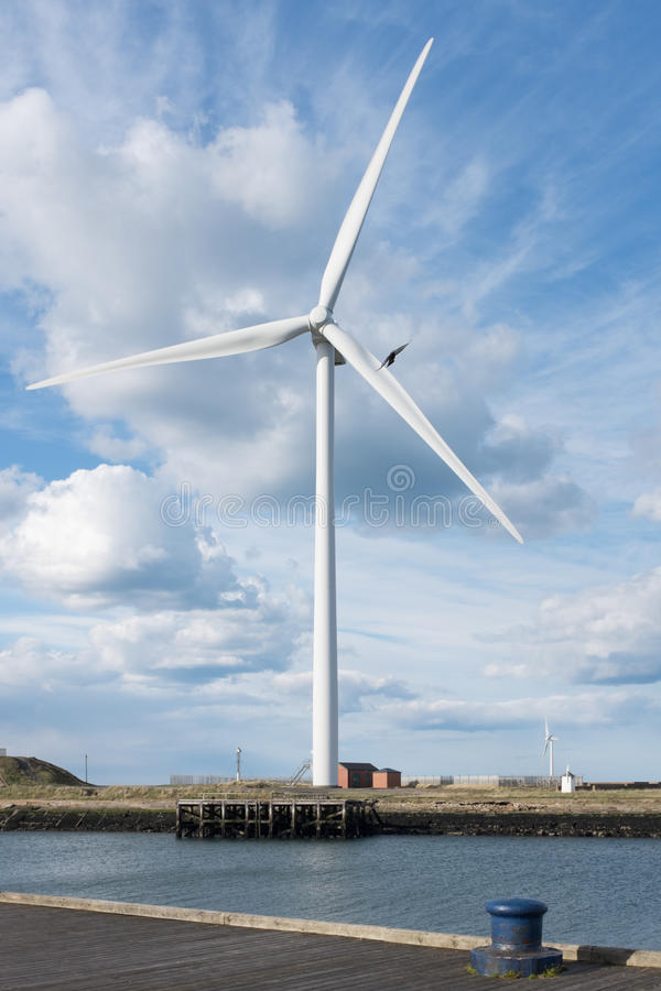 Editorial: Wind turbine in Cambois, Northumberland. Taken 27 Apr stock photos