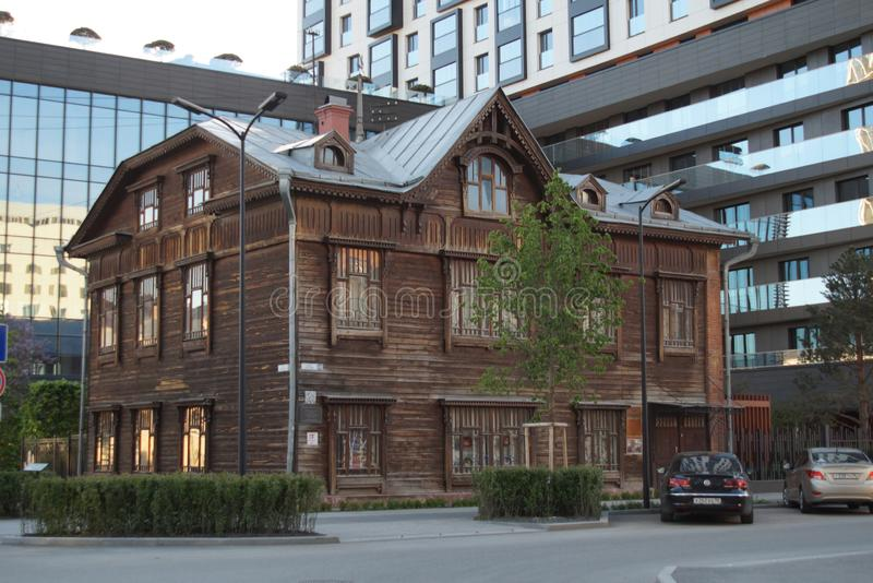 City landscape. Gogol Street 20. Monument of wooden architecture of the early 20th century stock photography