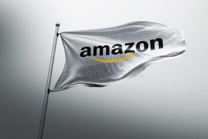 Editoriale fotorealistico della bandiera di Amazon fotografie stock libere da diritti