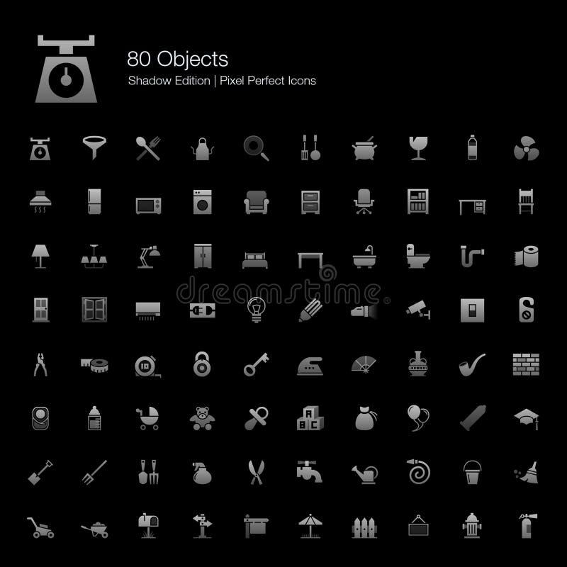 Edizione perfetta dell'ombra delle icone del pixel degli oggetti illustrazione di stock