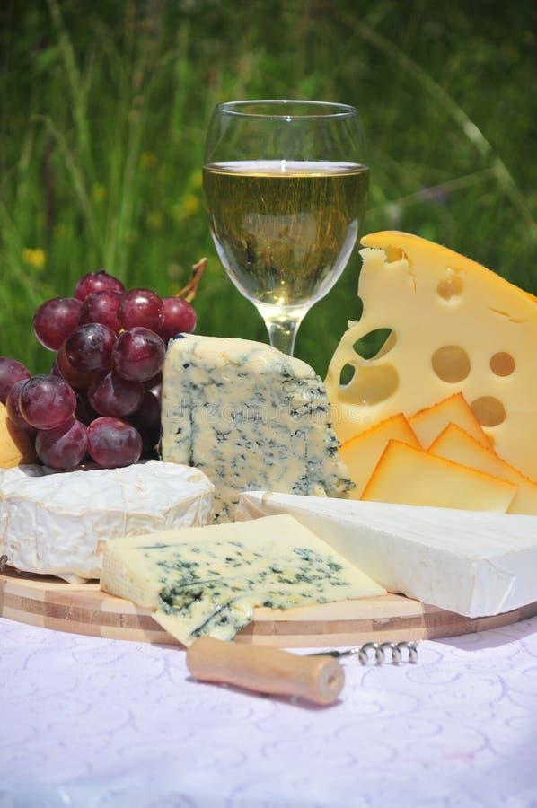 Edler Käse mit weißem Wein lizenzfreie stockbilder