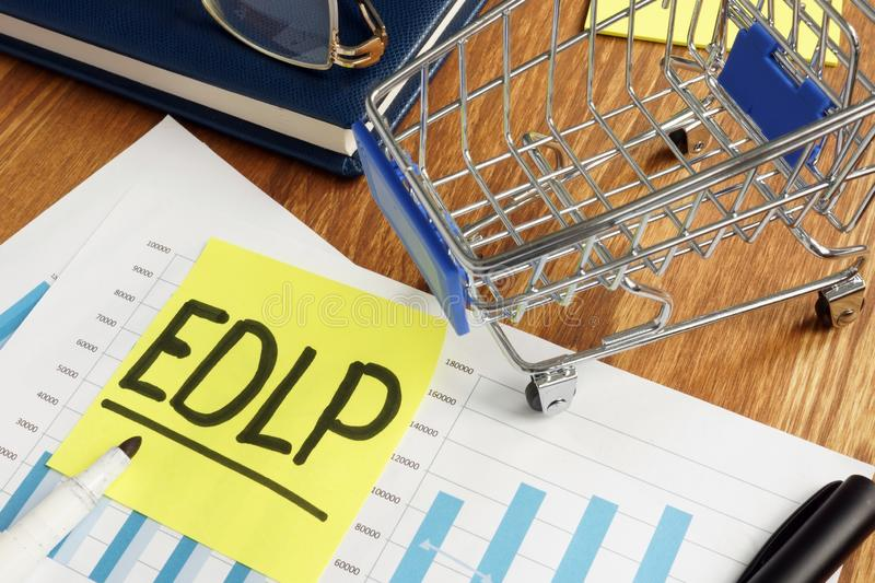 EDLP Every Day Low Prices business marketing report stock photo