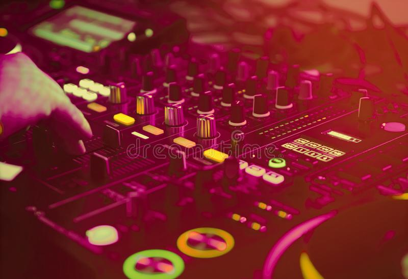 Professional dj audio equipment on edm music festival in night club royalty free stock images
