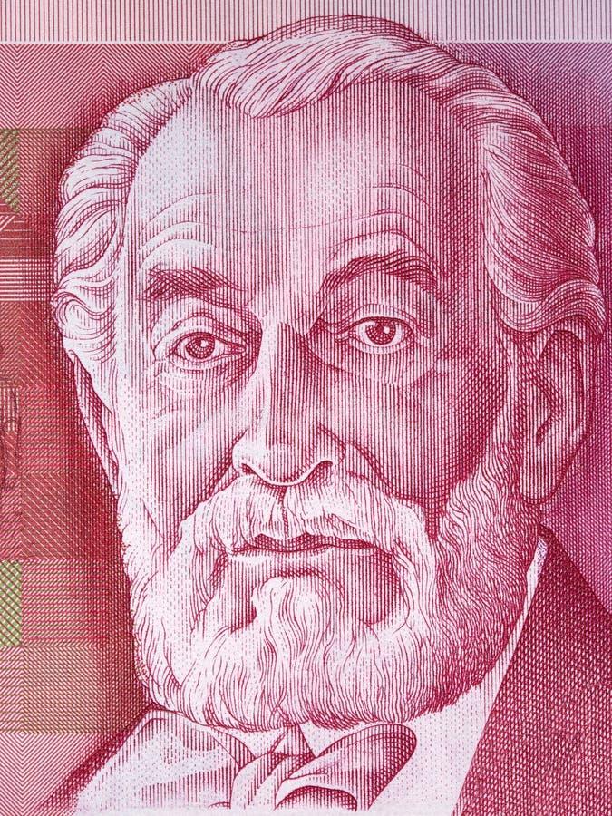 Edmond James de Rothschild portrait. From Israeli money royalty free stock photography
