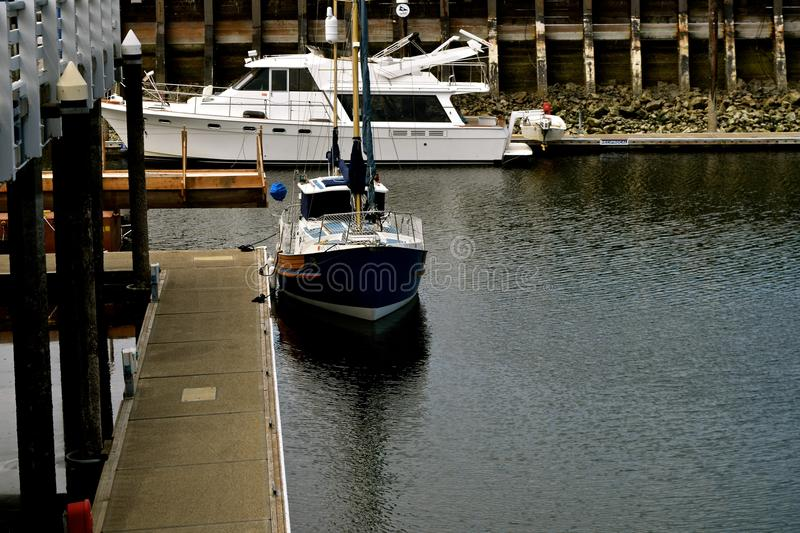 Edmonds Moorage boats. Edmonds, Washington moorage is a scenic and idyllic place to enjoy a walk. Boats of all types can be found there stock images