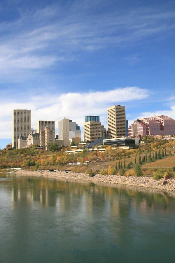 Edmonton Alberta Canada. Skyline of Edmonton, Alberta, Canada with nearby waterfront in autumn royalty free stock photos