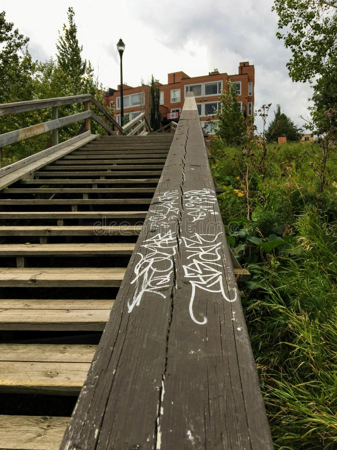Edmonton, Alberta, Canada - 28 août 2018 : Marque locale de graffiti images libres de droits