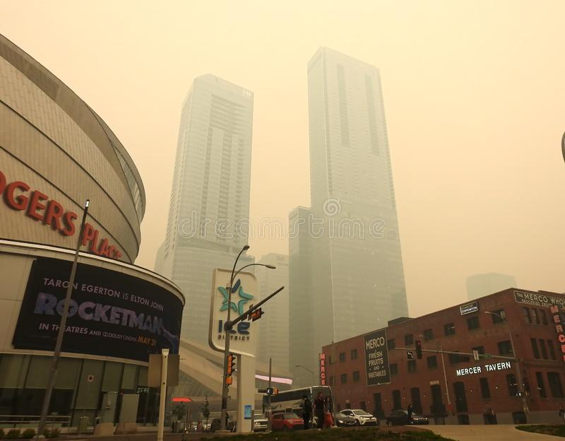 Edmonton, Alberta, Canada - May 30 2019: Air quality advisory in effect as wildfire smoke blankets city stock photography