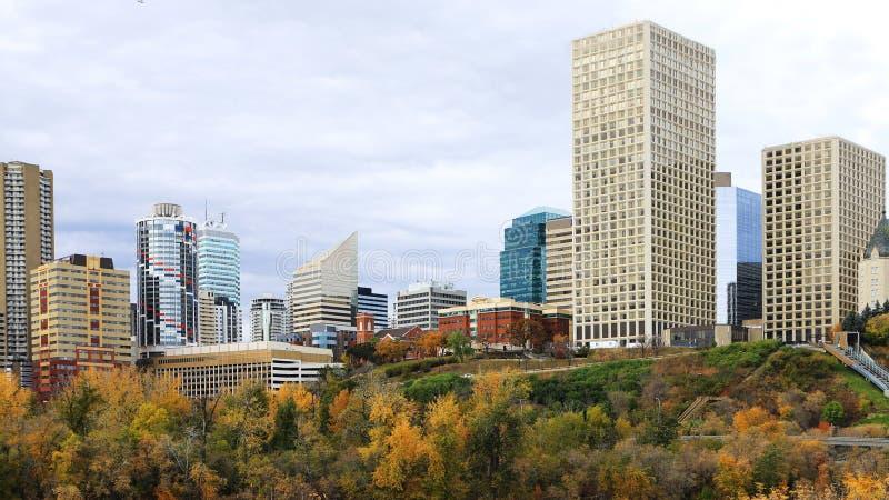 Edmonton, arquitetura da cidade de Canadá com o álamo tremedor colorido no outono fotografia de stock