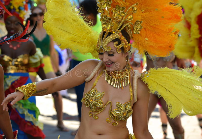 Edmonton, Canada-August 6, 2016: A woman performs at Edmonton`s Cariwest festival. Women performing at Edmonton`s Cariwest festival stock images