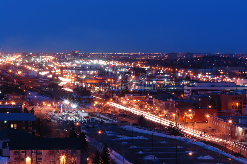 Edmonton city nightshot. Nightshot of city edmonton, Alberta, Canada royalty free stock images