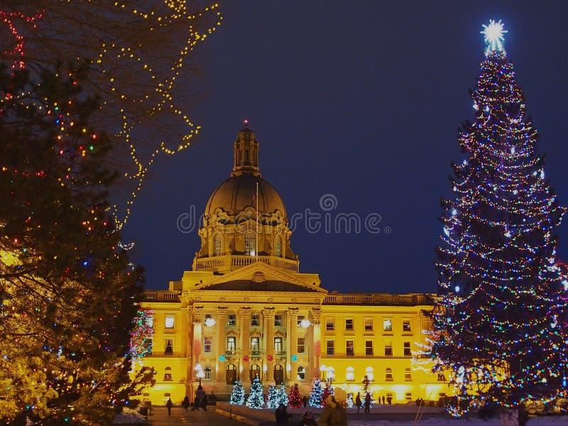 Edmonton de construction législatif, Alberta With Christmas Lights image libre de droits